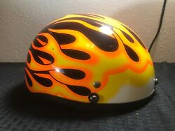Motorcycle Helmet Model Xtp Made In China With Flames Dated 04/2001 Size Xxl