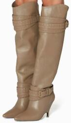 Zimmermann Slouch Knee Boot | Sage/ Grey/ Taupe Leather Best Seller | 1500 Rrp