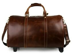 Fancy Leather Travel Bag with Wheels
