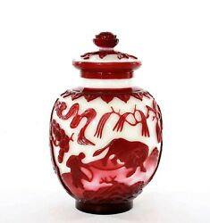 1900's Chinese Ruby Red Overlay Peking Glass Cover Ginger Jar Vase Farmer Oxen