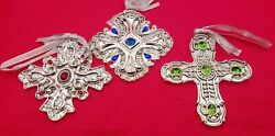 Set Of 3 Towle Silversmiths Silverplated Faux Jeweled Cross Ornaments 8007
