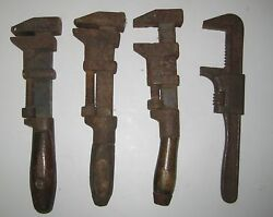 Antique Monkey Plumber Auto Adjustable Wrench 4 Piece Lot L. Coes And Others