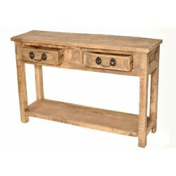 46 L Cairns Console Table Rustic 2 Drawer Hand Crafted Solid Mango Wood