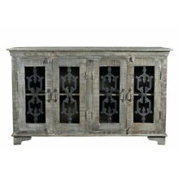 60 L Sideboard Hand Crafted Solid Mango Wood Cast Iron Detailed Doors Rustic