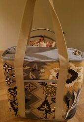 SPARTINA 449 Linen Thermal Lunch Tote Insulated Cooler Silver Dew Pattern