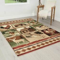 Cabin Rugs Rooster Carpet Fish/bear Decor/ Lodge Wilderness Western Design Rugs