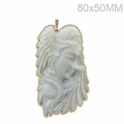 Handmade Cameo Carving Queen Pendant 14k Yellow Gold Diamond Pave Jewelry Gifts