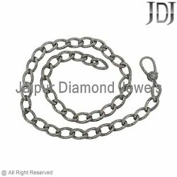 Natural Pave Diamond Link Chain Necklace Solid 925 Silver Lobster Clasp Jewelry