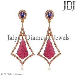 Natural Pink Ruby Carving Sapphire 14k Rose Gold Pave Diamond Earrings Jewelry