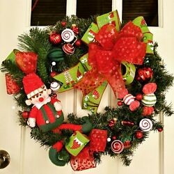 Christmas In July Sale Pine Front Door Wreath Elf Candy Red Green Ornaments