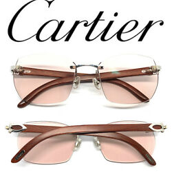 CARTIER WOOD Vintage! Eyeglasses  Sunglasses Panthere Santos Gold 11102