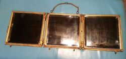Ornate Brass Antique Tri Fold Mirror W/ Beveled Glass And Tapestries