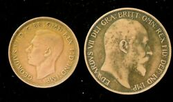 Lot Of 2 Uk 1902 One Penny 1944 Half Penny - Copper - Very Fine Condition