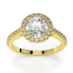 Ds-r-56-231 Accented 1.25 Ct D Si2 Halo Round Lab Diamond Ring 18 K Yellow Gold