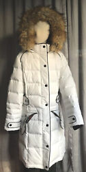 Canada Weather Gear Women's Long Outerwear Hooded Insulated Jacket White Size S