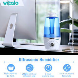 WIPALO Ultrasonic Humidifier Warm Mist 2L Color-Changing Light For Baby Room