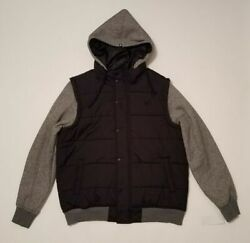 Nwt Big And Tall Menand039s Zoo York Puffer Jacket Hooded Black/gray Msrp 120.00