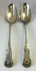 Antique Sterling Silver Scottish Shell Serving Spoons 2