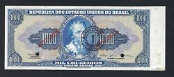 Brazil 1000 Mil Cruzeiros Nd1966-67 P187bs Specimen About Uncirculated