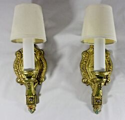 Pair Of Brass Ormolu Plated Candlestick Wall Sconces W/shades.13h. Electric