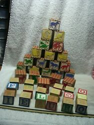 Antique Embosssed Alphabet Number Animal Object Wood Blocks 22 Large 17 Small