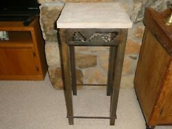 Rare Vintage Southwestern Style Stone Top Bronze Base Table Stand Display Plant