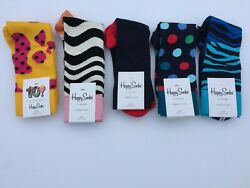 Happy Socks Holiday Gift Lot of 5 Assorted Patterns Size 10-13