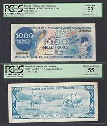 Burundi 1000 Francs 1-6-1967 P25p Essay Face And Back About Uncirculated