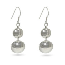Sterling Silver Earrings Dome Shaped Drops Handmade In Cornwall From 925 Silver