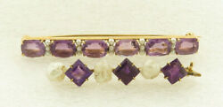 Antique Pair Of 14 Kt Yellow Gold Amethyst And Pearl Bar Pins.