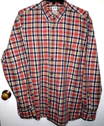 LUCKY BRAND ~ MEN'S Size XL ~ LONG SLEEVE PLAID ORANGE SHIRT EUC