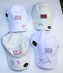 4 Autographed Crowne Plaza Invitational Pga Golf Hats Toms Weekley Zach Stanford