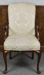 Southwood Mahogany Queen Anne Arm Chair Damask Fabric