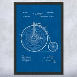 Framed Big Wheel Bicycle Velocipede Print Cycling Gift Bicycle Wall Art