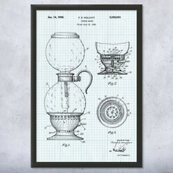 Vacuum Coffee Maker Framed Patent Print Coffee Bar Decor Cafe Owner Gift