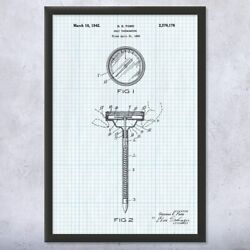 Framed Meat Thermometer Wall Art Print Restaurant Decor Culinary Gift Cafe Decor