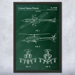 Framed Attack Helicopter Wall Art Print Army Pilot Gift Military Decor