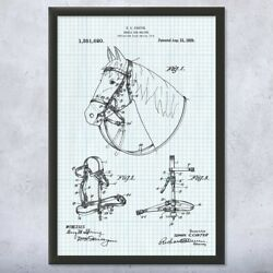 Horse Bridle And Halter Framed Patent Print Farmer Gifts Horse Decor Rancher Gift