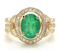 2.88 Carat Natural Emerald And Diamonds In 14k Solid Yellow Gold Women Ring