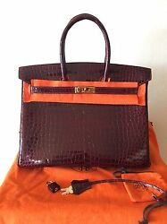 Authentic Hermes Birkin 35 Bordeaux Porosus Crocodile Gold Hardware