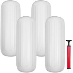 4 New Ribbed Boat Fenders 10 X 28 White Center Hole Bumpers Mooring Protection