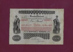 Ireland Bank Of Ireland 1 Pound 1919 P-A35 F+ EXTREMELY RARE UK GREAT BRITAIN