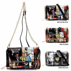 Michelle Obama Magazine Cover Collage Flip Lock Crossbody Clutch Wallet Purse $19.50