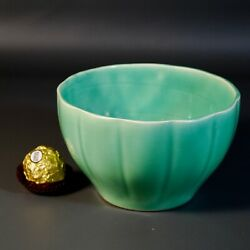 Chinese Antique Celadon Bowl Or Wine Warmer Qing Dynasty Rare Light Green Glaze