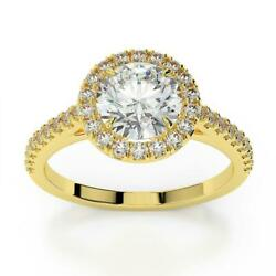 Ds-r-56-196 Side Stones 1.35 Ct F Si2 Halo Round Diamond Ring 14 K Yellow Gold