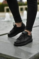 STM Chekich High Sole Sneaker Design Casual Shoes - Full Black $59.90
