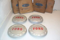 60 61 62 63 64 65 66 Ford 1/2 Ton Nos Wheel Covers/hubcaps Set 4 Orig Fomoco