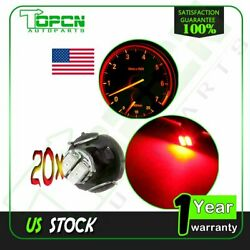20X T3 Neo Wedge 2SMD Panel HVAC Climate Control Lights Super Red Car LED Bulbs