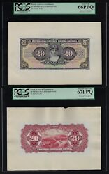 Brazil Face And Back 20 Mil Reis 18-12-1926 P104p Proof Uncirculated