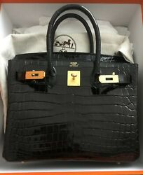 Hermes Birkin Black size 30 Gold HW  Crocodile Leather New